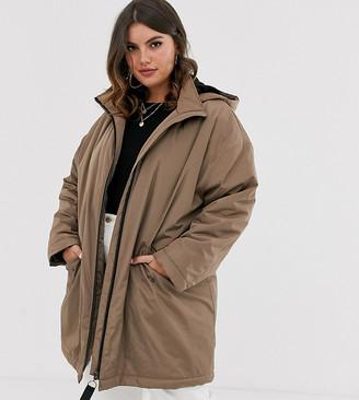 ASOS DESIGN Curve faux fur raincoat in mink