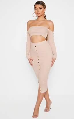PrettyLittleThing Stone Button Detail Bardot Knitted Skirt Set
