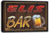 AdvPro Canvas scw3-059954 ELIS Name Home Bar Pub Beer Mugs Stretched Canvas Print Sign