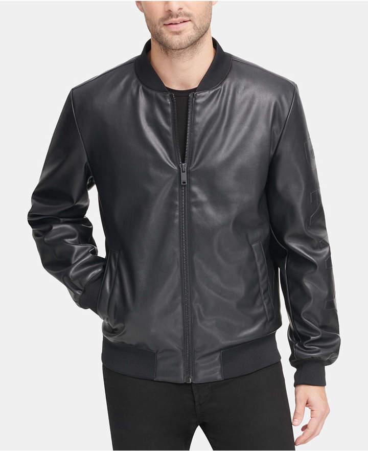 a7056b4e11 Men Soft Faux-Leather Bomber Jacket