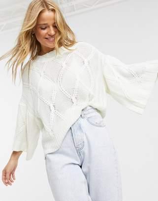 Brave Soul freestyle jumper in diamond knit-Cream