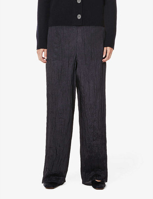 Vince Crinkled wide-leg high-rise woven trousers