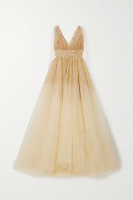 Oscar de la Renta Cape-effect Sequin-embellished Tulle Gown - Gold