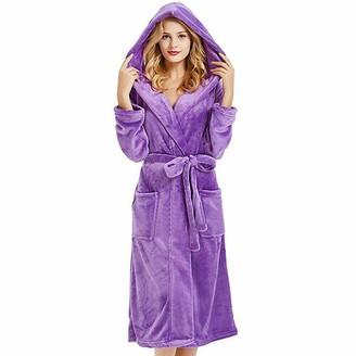 Kjfun Women Luxury Long Bath Robe Dressing Gown Hooded Ladies Fluffy Fleece Sleepwear (Wine Red S)