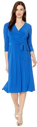 Lauren Ralph Lauren Carlyna 3/4 Sleeve Day Dress (Regal Sapphire) Women's Dress