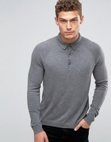 Benetton Cashmere Blend Long Sleeve Knitted Polo
