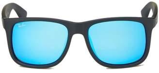 Ray-Ban Black Mirrored Rubberized Frame Justin Color Mix Wayfarer Sunglasses