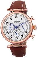 Akribos XXIV Women&s Quartz Chronograph Leather Strap Watch
