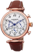 Akribos XXIV Women's Quartz Chronograph Leather Strap Watch
