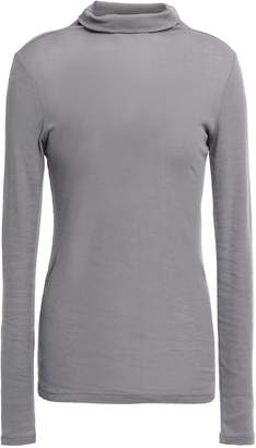 Theory Ribbed Cotton And Cashmere-blend Turtleneck Top