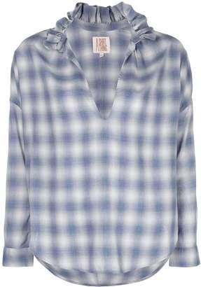 A Shirt Thing Penelope ruffle neck plaid blouse
