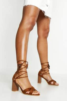 boohoo Extra Wide Fit Lace Up Block Heels