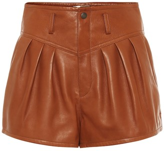 Saint Laurent High-rise pleated leather shorts