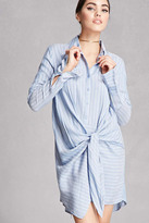 Forever 21 FOREVER 21+ Knotted Striped Shirt Dress