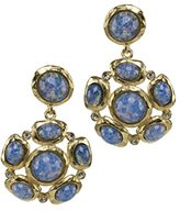 Kenneth Jay Lane Women's Satin Gold Plated Crystal Glass Mixed Round and Oval Shapes of Blue Opal Cabochon Drop Earrings