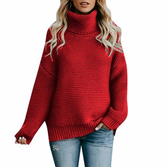 Motoco Womens Sweater Solid Turtleneck Long Sleeves Chunky Knit Jumper Pullover Tops Oversized(L