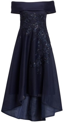 Teri Jon by Rickie Freeman Off-The-Shoulder Lace Applique Mesh Dress