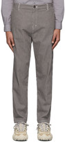 Robert Geller Grey and Off-White The Striped Tapered Trousers