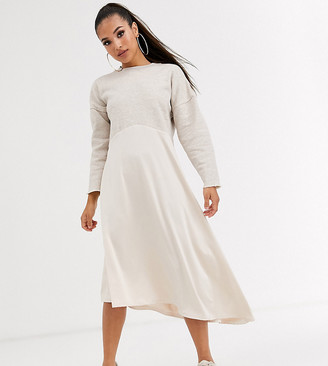 ASOS DESIGN Petite sweat midi dress with slinky hem