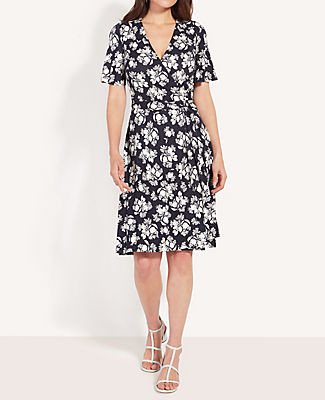Ann Taylor Petite Citrus Blossom Wrap Dress