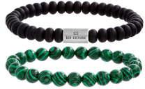 Ben Sherman Men's Bead Bracelets, Set of 2, Black/Green