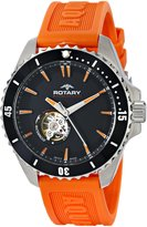 Rotary Men's ags90078/a/04 Analog Display Swiss Automatic Orange Watch