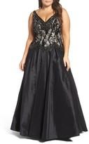 Mac Duggal Plus Size Women's Lace & Taffeta Ballgown