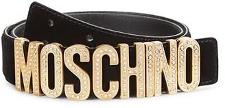 Moschino Crystal-Embellished Logo Velvet Belt