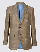 Marks and Spencer Pure Linen Regular Fit Checked Jacket