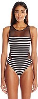Vince Camuto Women's Shore Side High Neck Mesh One Piece Swimsuit