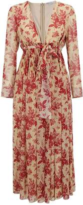 RED Valentino Pleated Floral V-Neck Midi Dress