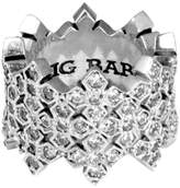 King Baby Studio Sterling Silver Stacked CZ MB Cross Ring