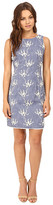 Christin Michaels Evie Chambray Embroidered Shift Dress
