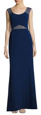 Aidan Mattox Lace Insets Cutout Gown