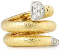David Webb 18K Diamond Hammered Nail-Shaped Ring