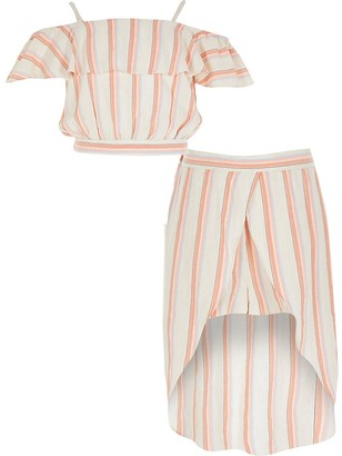 River Island Girls coral stripe frill skort outfit