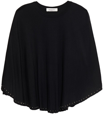 Valentino Cape-effect Studded Knitted Top