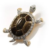Avalaya Fortunate Crystal Enamel Turtle Brooch (Gold&Olive)