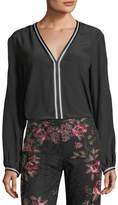 Nanette Lepore Granada Silk Stripe-Trim Shirt