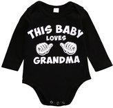 Lily.Pie THIS BABY LOVES GRANDMA Baby Infant Funny Bodysuits Newborn Onesies Rompers
