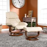 Taupe Bonded/Reconstituted Leather Recliner and Ottoman