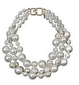 Kenneth Jay Lane Simulated Pearls Necklace Choker Bib Chunky Costume Fashion Jewelry