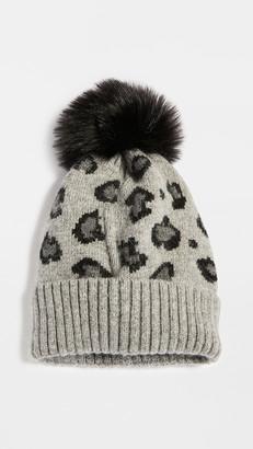Adrienne Landau Leopard Print Hat with Pom