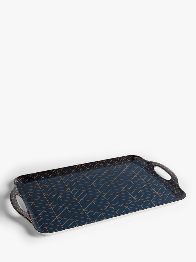 Thumbnail for your product : John Lewis & Partners Geometric Pattern Large Melamine Tray, 48cm, Navy/Gold