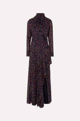 Chloé Pussy-bow Embroidered Floral-print Silk-georgette Gown - Midnight blue