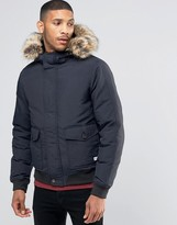 Jack Wills Pateley Down Bomber Detachable Faux Fur Trim