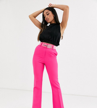 ASOS DESIGN Petite pop pink slim kick flare trousers with clear belt