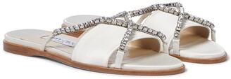 Jimmy Choo Aadi embellished satin sandals