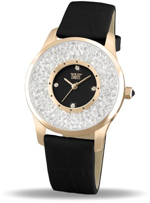 Davis Ladies Fashion Black RoseGold Elegant Watch with Swarovski crystal