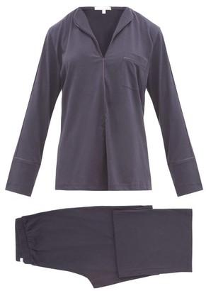 Skin Ondrea Satin-piped Pima-cotton Pyjamas - Navy